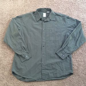 J.Crew Casual Button Down Green White Pinstriped